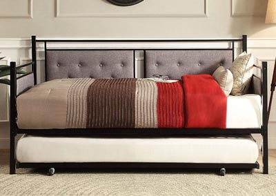 Metal Daybed w/Trundle, Gray Fabric
