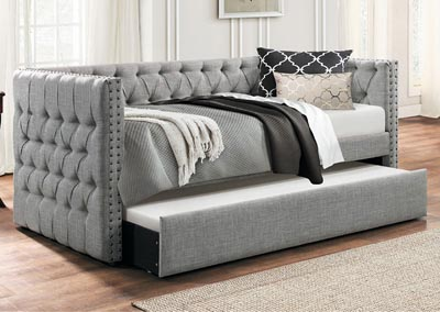 Daybed w/Trundle, Gray Fabric