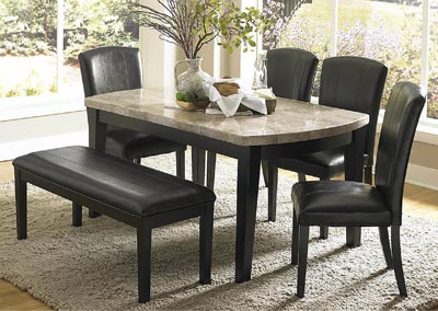 "Image for Cristo 64"" Dark Espresso Marble Top Dining Table Set w/4 Side Chairs & Dining Bench"