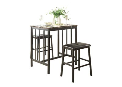 Image for Edgar  Brown 3 Piece Counter Height Dining Set W/ 2 Stools
