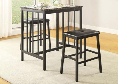Edgar Black 3 Piece Counter Height Table Set w/Faux Marble Top & 2 Stools