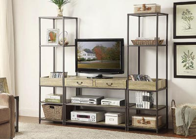 Rumi 3 Piece Metal & Burnished Wood TV Stand Set w/2 Side Piers