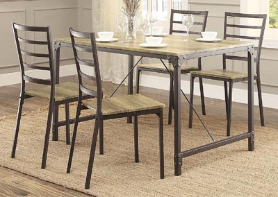Rumi Metal & Wood 5 Piece Rectangular Dinette Set