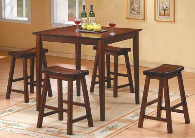 SaddleBack 5 Piece Distressed Cherry Counter Height Set w/4 Counter Height Stools