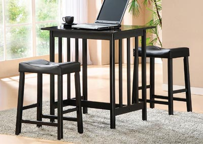 Scottsdale Black 3 Piece Counter Height Set w/2 Counter Height Stools