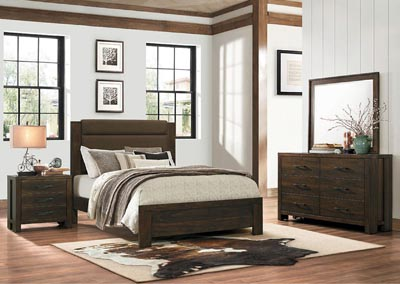 Eastern King Bed, Dark Brown Fabric Headboard