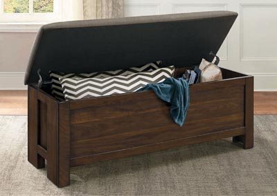 Bed Bench, Dark Brown Fabric Seat