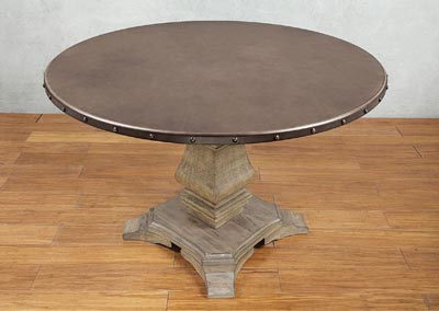 Round Dining Table, Zinc Top