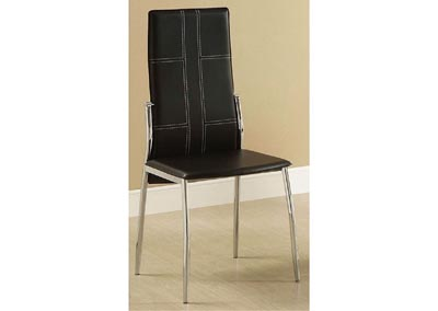 Wilner Black Side Chair w/White Baseball Stitching