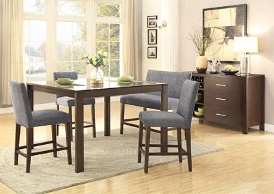 6Pc Set Counter Height Table w/4 Chairs & Bench