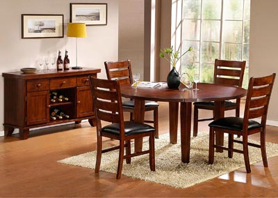Ameillia Round Drop Leaf Dining Table w/4 Side Chairs