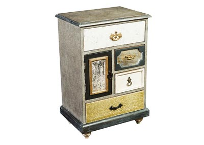 Amara Antique Wood 1 Door & 4 Drawer Cabinet