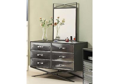 Spaced-Out, Gun Powder Metal 6 Drawer Dresser