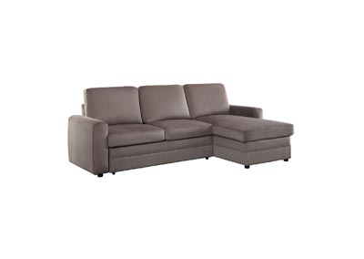 Welty Brown 2-Piece Reversible Sectional W/ Pull-out Bed and Hidden Storage