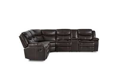 Bastrop  Dark Brown 3-Piece Sectional W/ Right Console