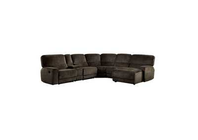 Shreveport  Brown 6-Piece Modular Reclining Sectional W/ Right Chaise