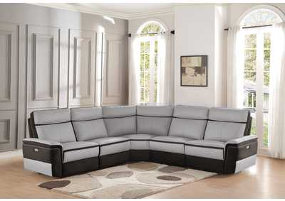 Laertes Taupe Power Double Reclining Sofa