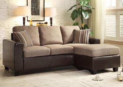 Slater Greyish/Brown Reversible Sofa Chaise