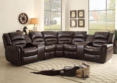Palmyra Dark Brown Bonded Leather Right-Side Reclining Loveseats w/Center Console