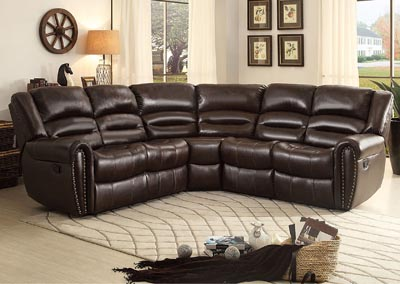 Palmyra Dark Brown Bonded Leather Right-Side Reclining Loveseat