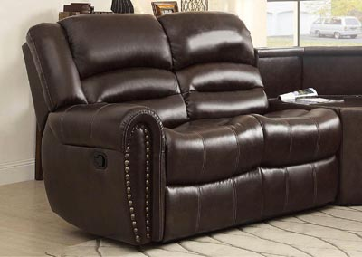 Palmyra Dark Brown Bonded Leather Left-Side Reclining Loveseat