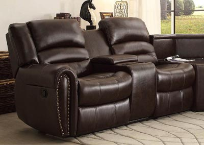 Palmyra Dark Brown Bonded Leather Left-Side Reclining Loveseat w/Center Console