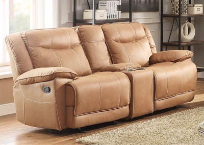 Wasola Brown Double Glider Reclining Loveseat w/Control Console