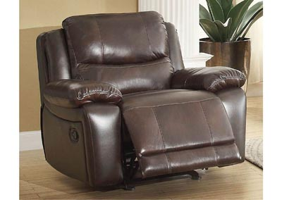 Allenwood Dark Brown Leather Glider Reclining Chair
