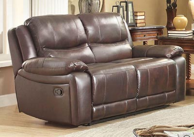 Allenwood Dark Brown Leather Double Reclining Loveseat