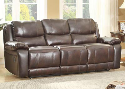 Allenwood Dark Brown Leather Double Reclining Sofa