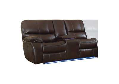 Pecos Dark Brown Left Side Reclining Love Seat W/ Center Console