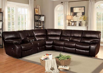 Pecos Brown Leather 3Pc Sectional