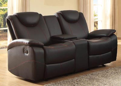 Talbot Black Double Glider Reclining Loveseat w/Center Console