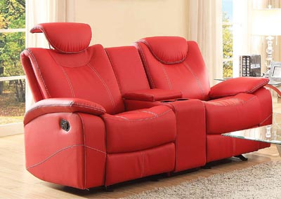 Talbot Red Double Glider Reclining Loveseat w/Center Console