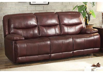 Risco Burgundy Double Reclining Sofa