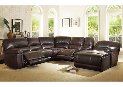 Blythe II Dark Brown Left Facing Reclining Chair Sectional