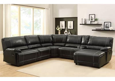 Cale Black Sectional w/ Right Facing Reclining Chaise