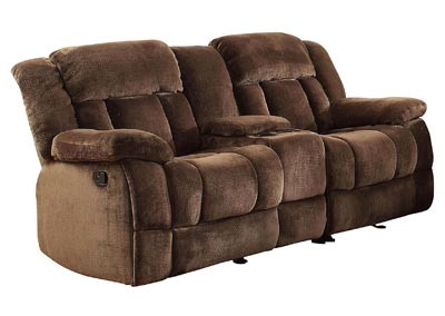 Laurelton Chocolate Double Reclinng Loveseat w/Center Console