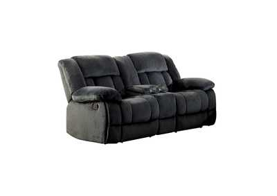 Laurelton Charcoal Double Glider Reclining Love Seat W/ Center Console