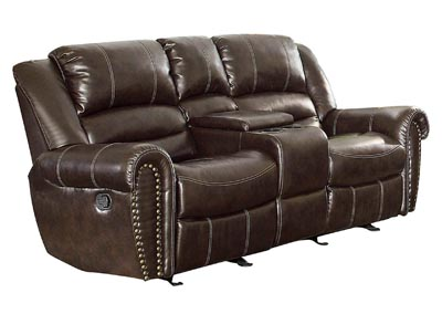 Center Hill Dark Brown Double Glider Reclining Loveseat w/Center Console