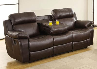 Marille Brown Double Reclining Sofa w/Center Drop Down Cup Holder