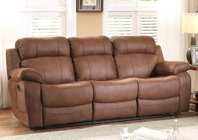 Marille Dark Brown Double Reclining Sofa w/Center Drop Down Cup Holder