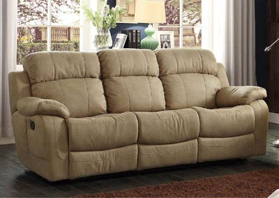 Marille Taupe Double Reclining Sofa w/Center Drop Down Cup Holder