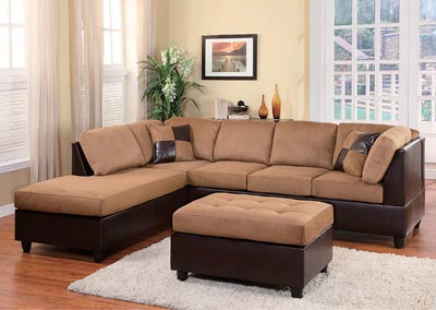 Comfort Living Brown/Dark Brown Left Facing Sofa Sectional
