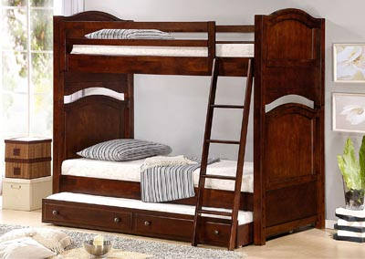 Aris Warm Brown Cherry Full Bunk Bed w/Trundle