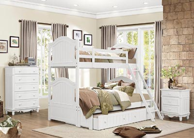 Clementine White Full Bunk Bed