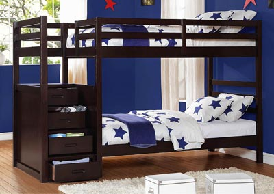 Atlas Dark Cherry Twin/Twin Bunk Bed w/Step Storage