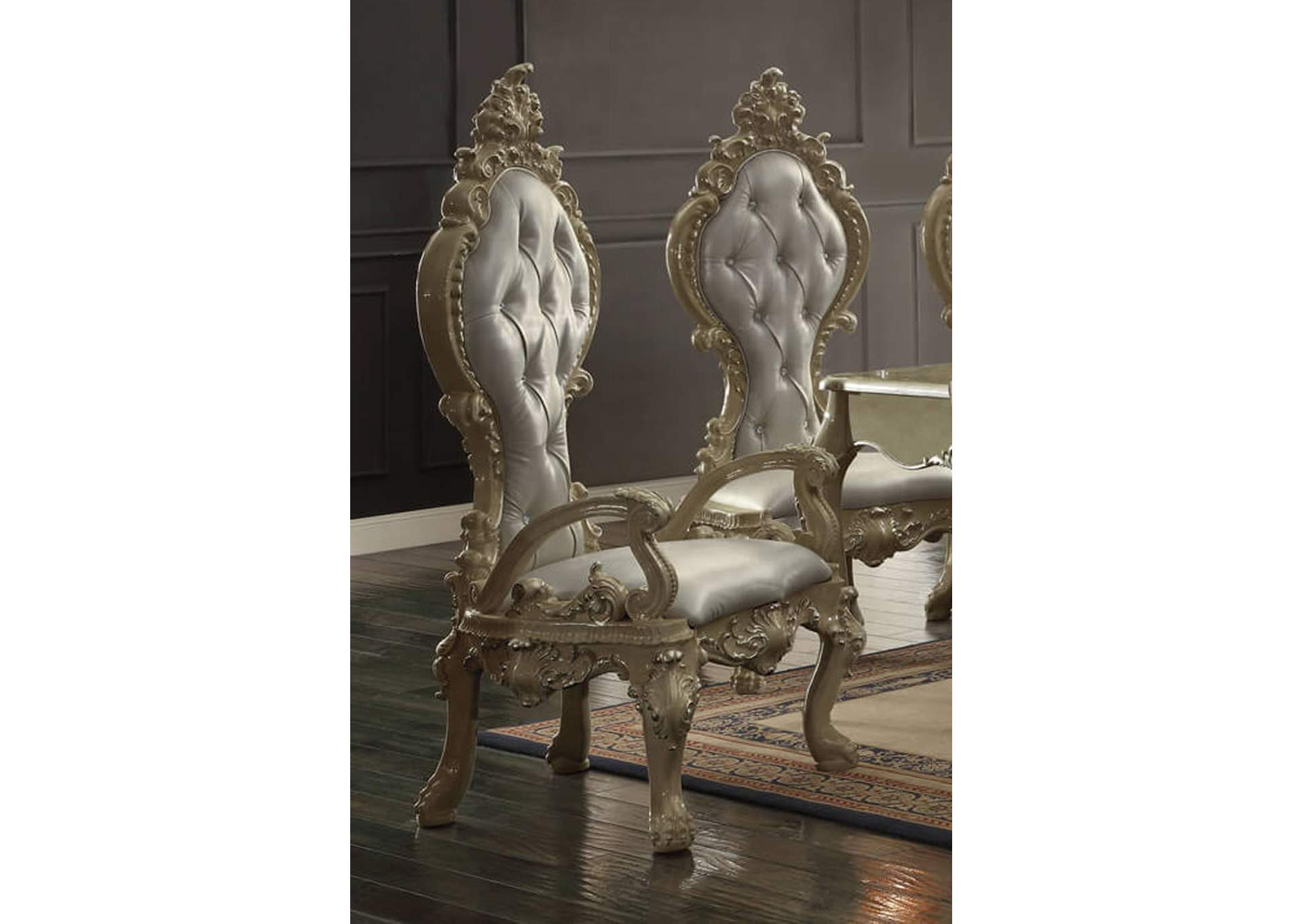 Champagne Gold Arm Dining Chairs [Set of 2],Homey Design
