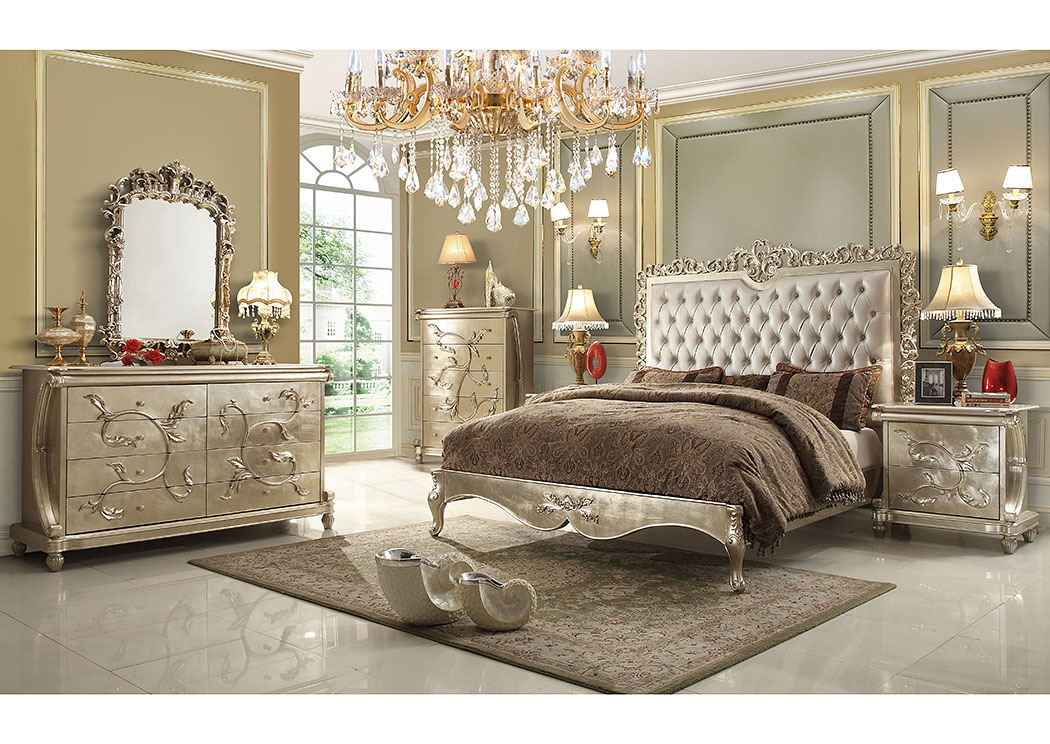 Royal Palace Gold Silver Queen BedHomey Design