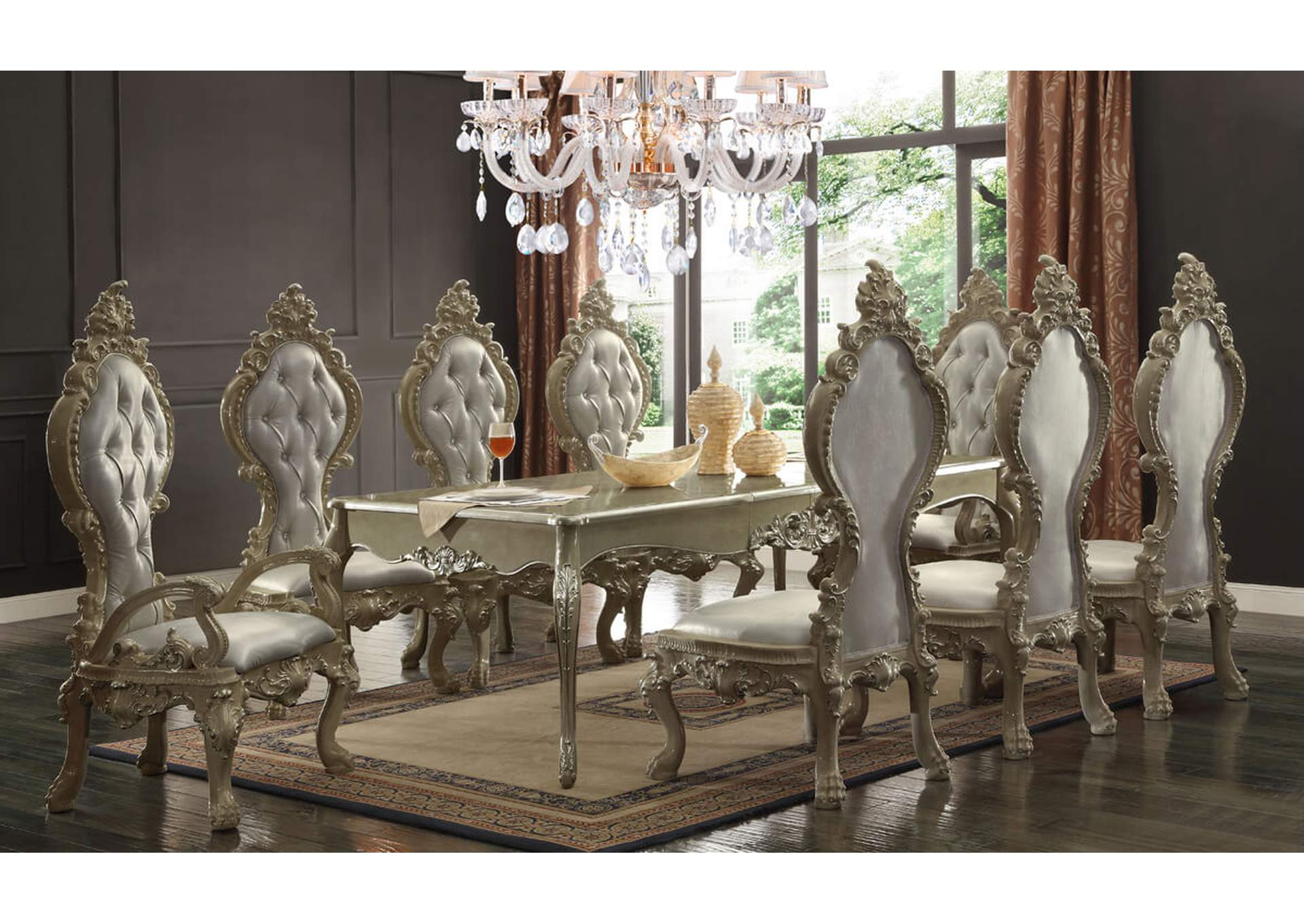 Antique White with Metallic Silver Highlights Dining Table w/2 Arm Chairs & 6 Side Chairs,Homey Design